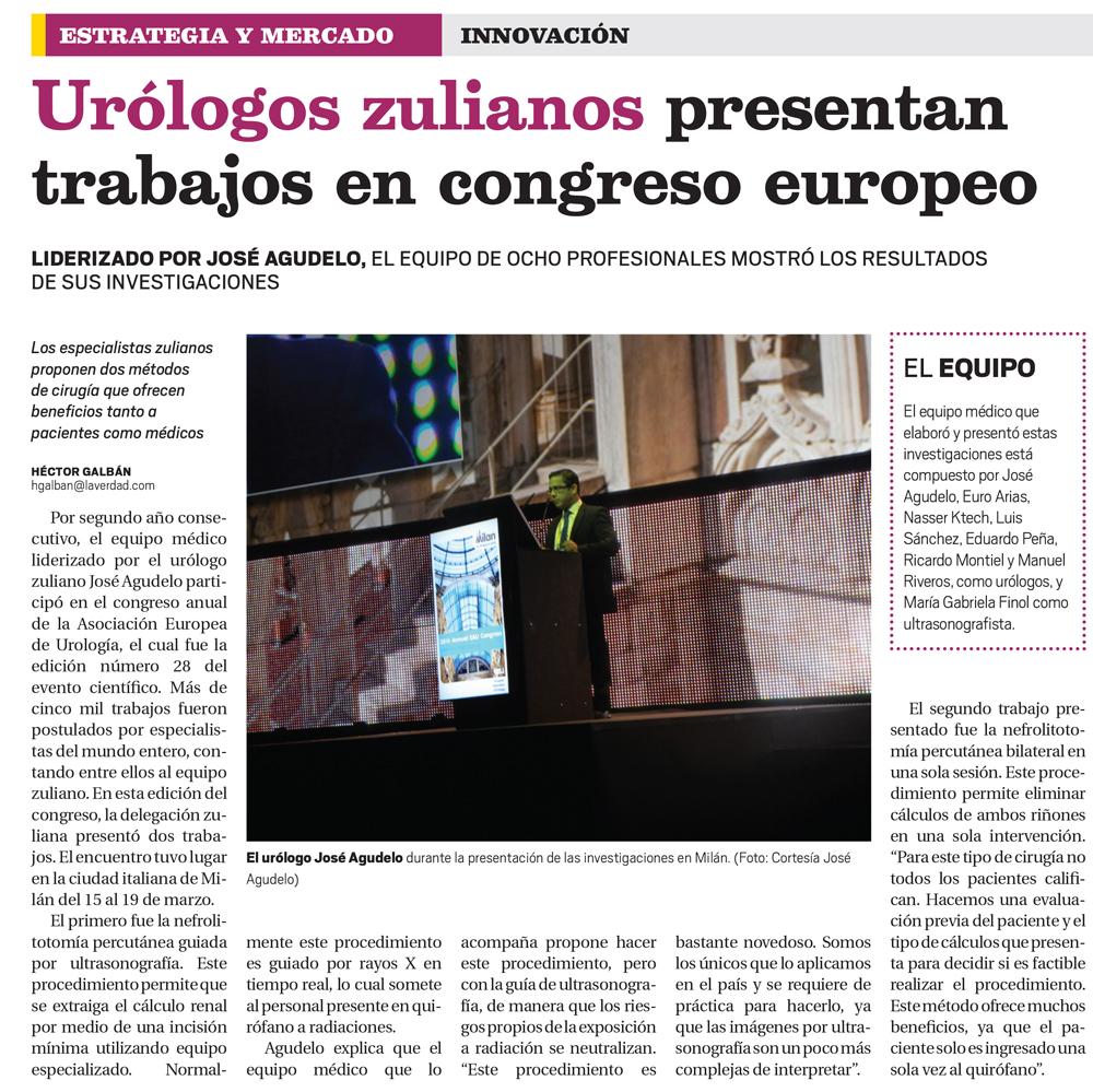 Urólogos zulianos presentan trabajo en congreso europeo