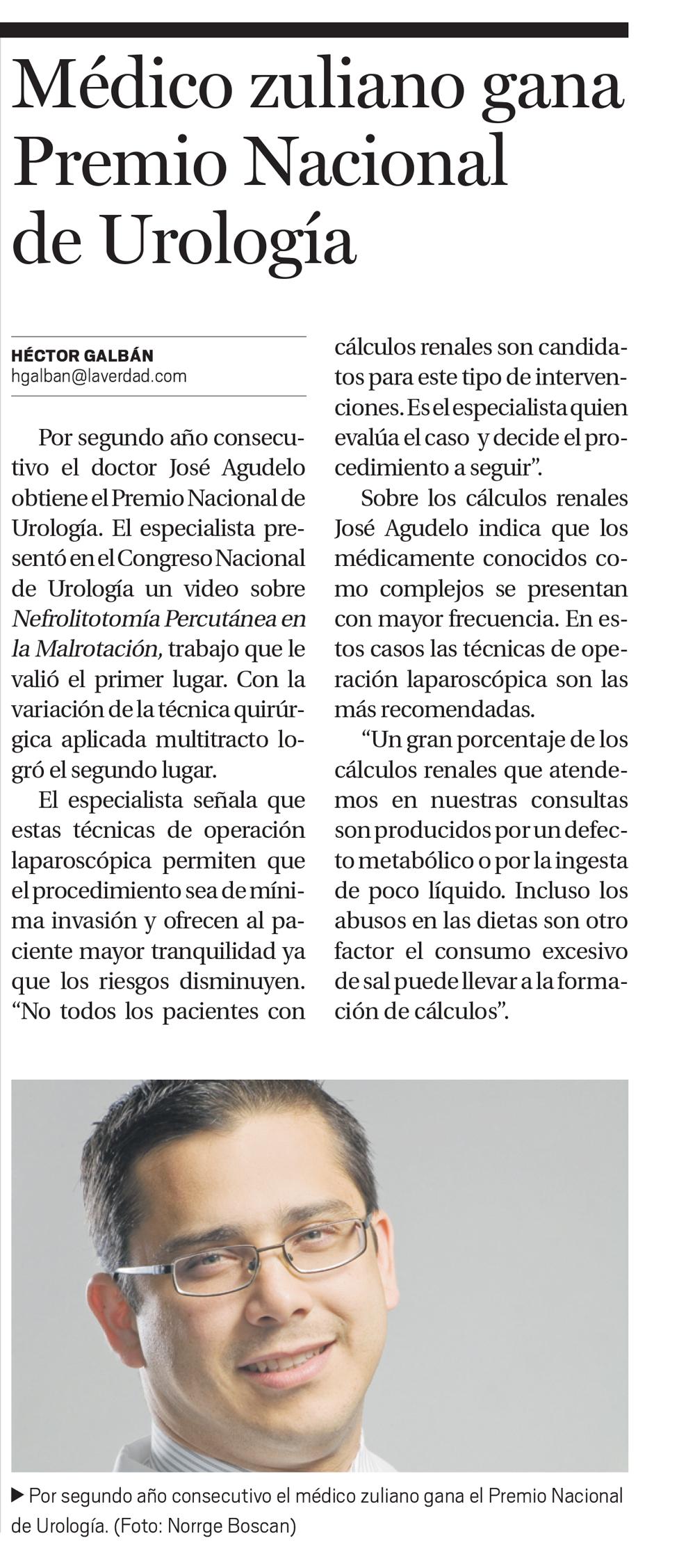 Médico zuliano gana Premio Nacional de Urología