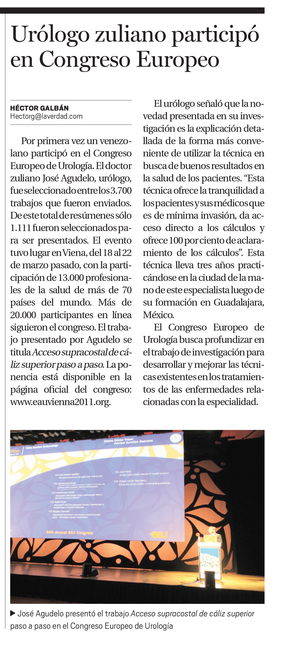Urólogo zuliano participó en Congreso Europeo